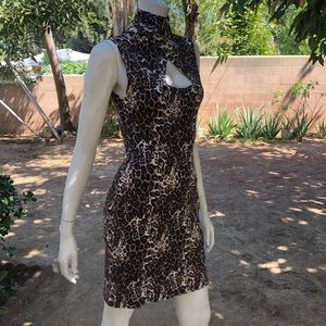bebe leopard body con dress